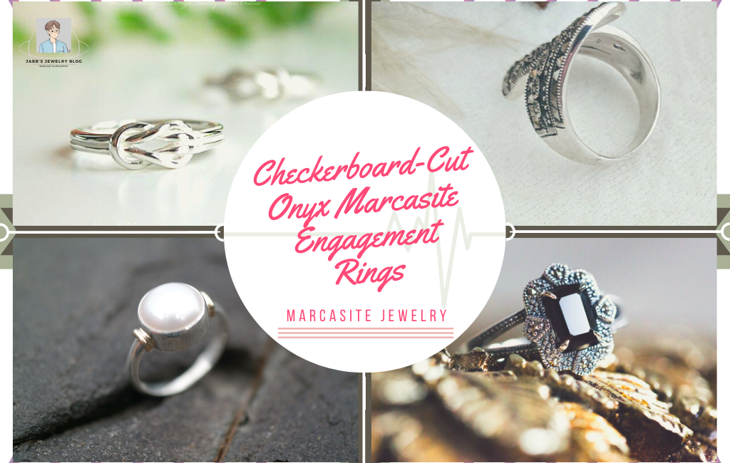 Checkerboard Cut Onyx Marcasite Engagement Rings