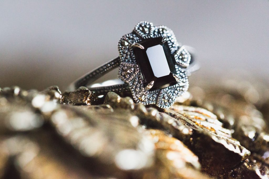 Checkerboard-Cut Onyx Marcasite Engagement Rings